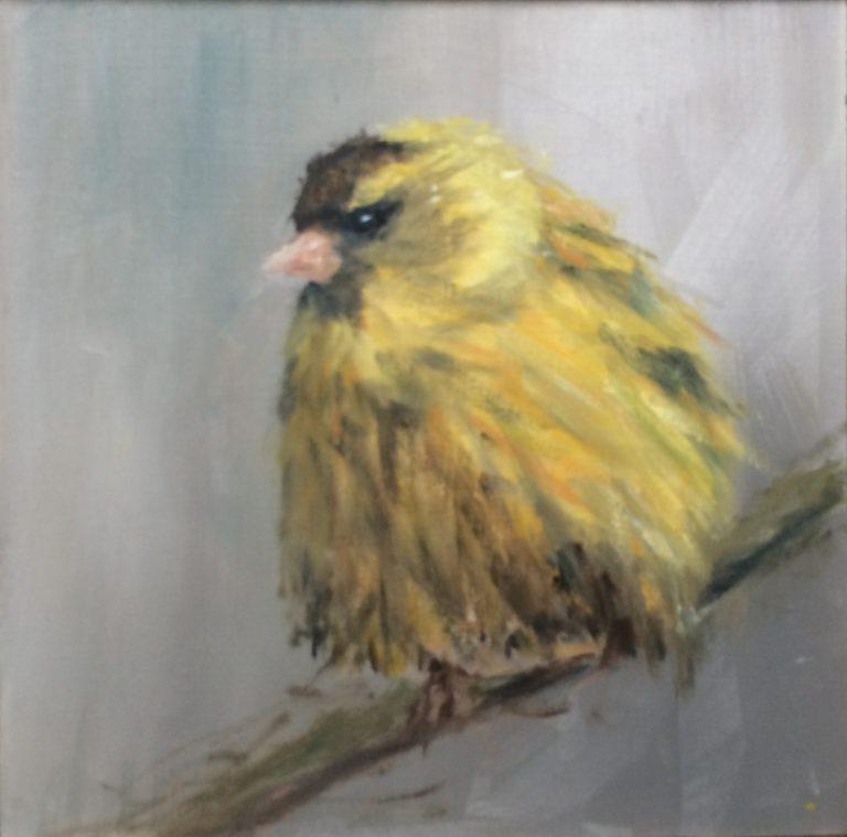 Maleri af Lis Kjærgaard - olie på træ, solgt - 16 x 16