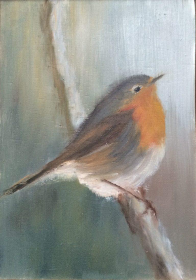 Maleri af Lis Kjærgaard - olie på træ - 17 x 11 - solgt