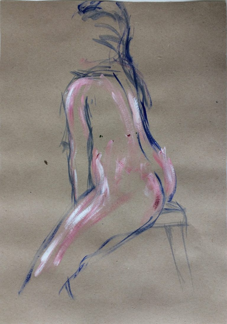 Maleri af Lis Kjærgaard - akryl på karduspapir - 42 x 30