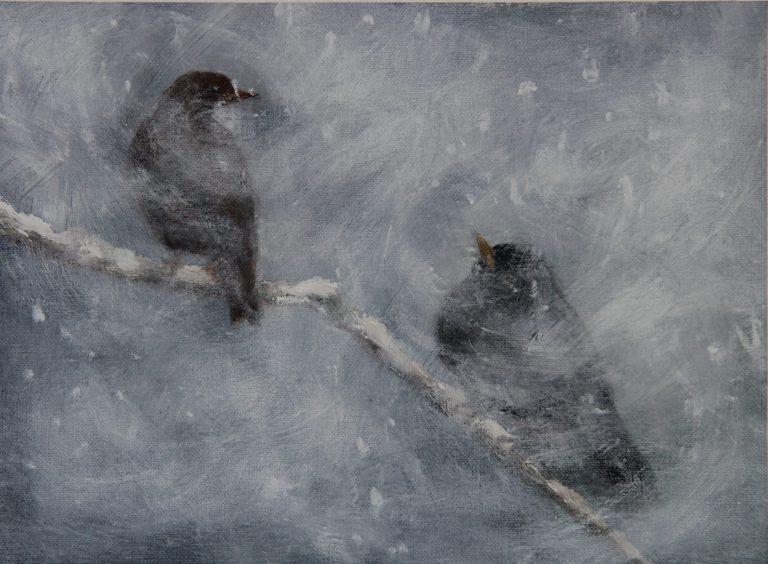 Maleri af Lis Kjærgaard -Sne 18 × 25 Olie